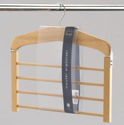 Extra Strong Large Wooden 4 Bar Tilting Trouser Organiser Hanger Rack