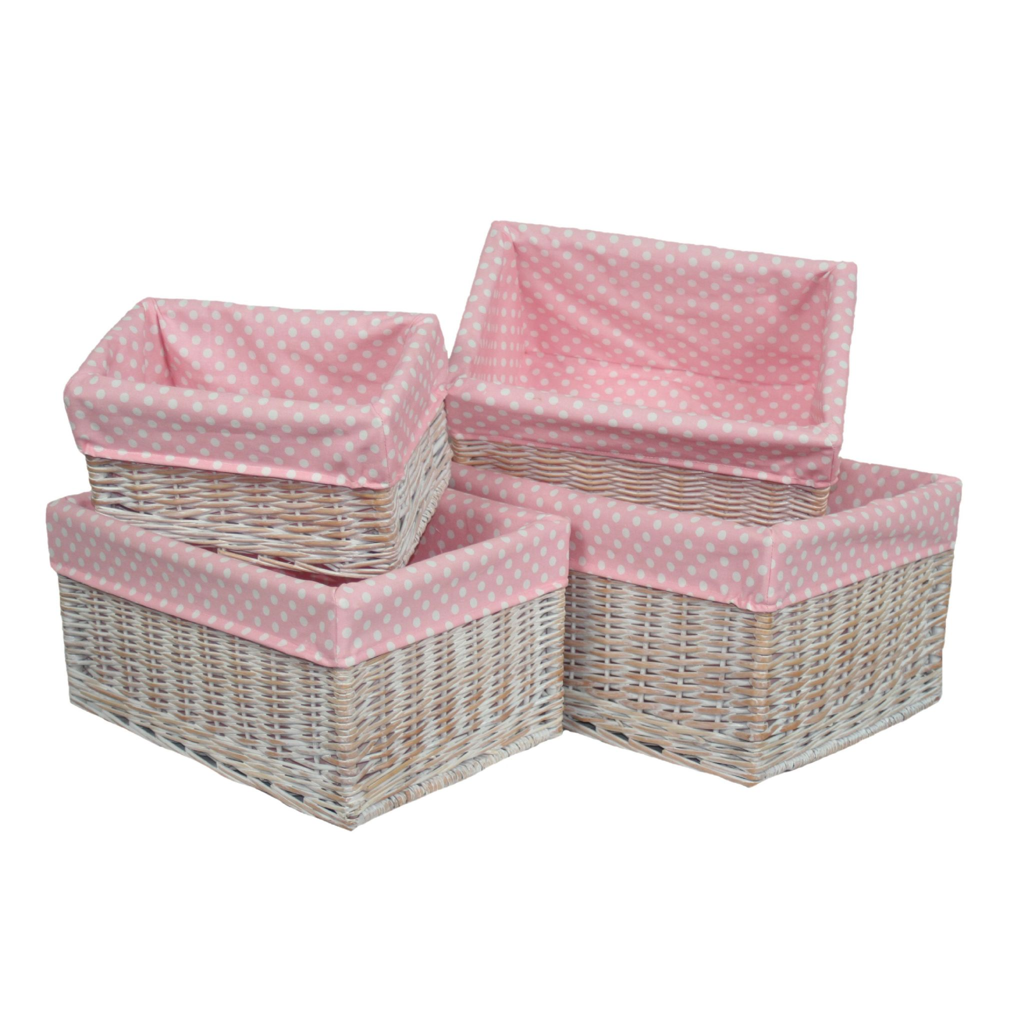 New England 4 Pink Lined White Wicker Baskets