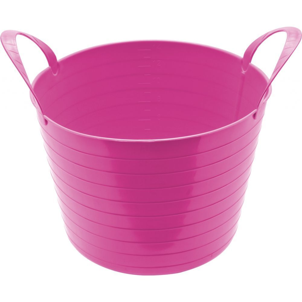Round Plastic Carry Storage Tubs Pink 3 Sizes