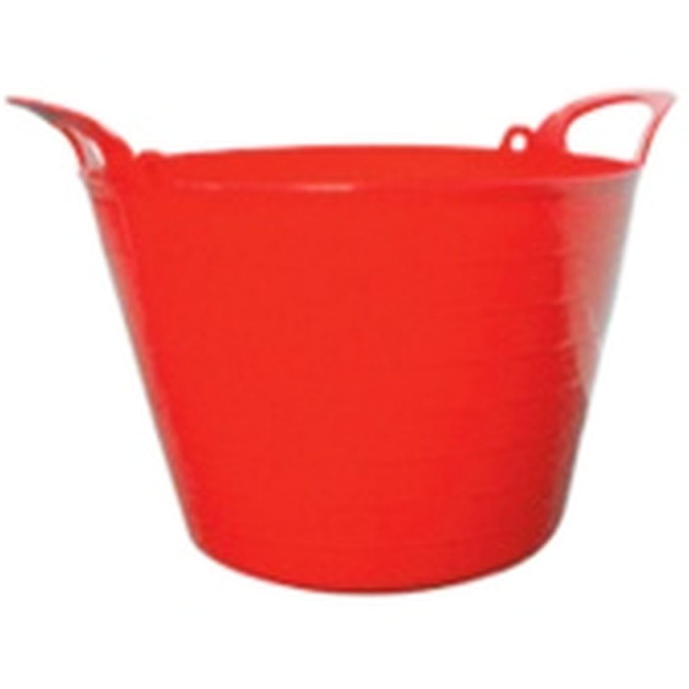 Round Plastic Carry Storage Tubs Red 3 Sizes
