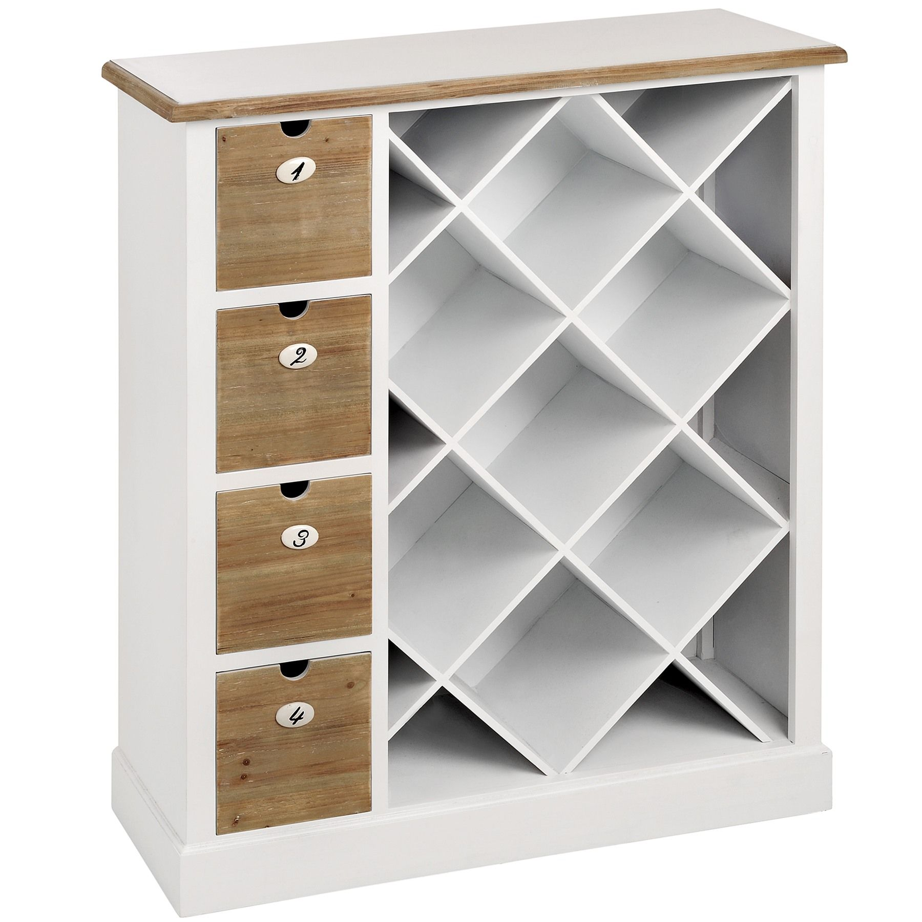 Shaker white wooden wine storage cabinet