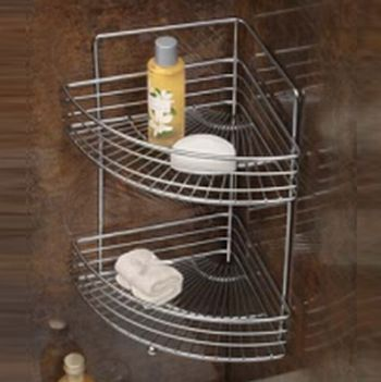 Shower Bath Chrome 2 Tier Corner Rack Basket Shelves