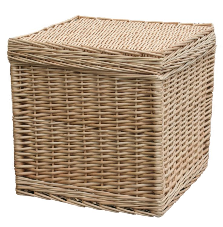 Wicker Basket Storage Cube : Wicker basket storage cube box stool