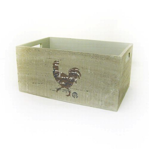 Wooden Rooster Storage Crate Box