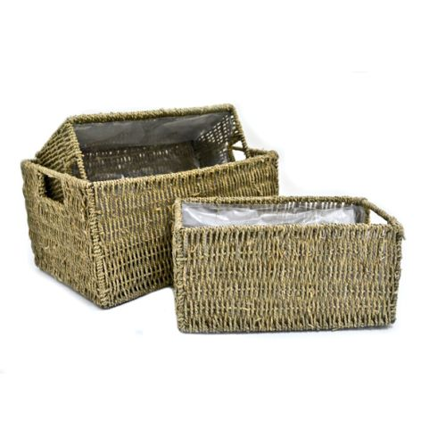 Seagrass Storage Baskets: 3 Large Oblong Seagrass Storage Baskets