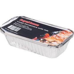 3 Long Rectangular Foil Food Containers