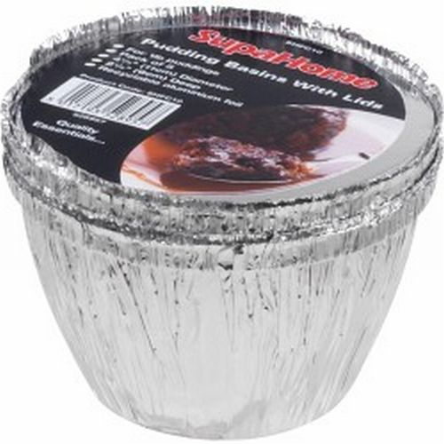4 Catering Foil 1lb Pudding Basins With Lids