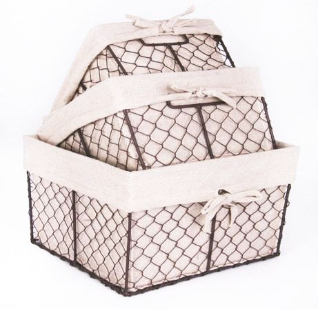 5 Strong Metal Wire Lined Storage Baskets