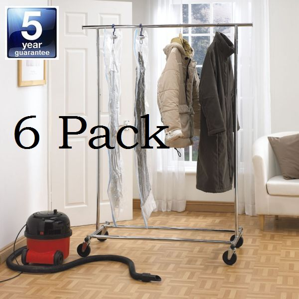 6 Long Hanging Vacuum Storage Bags Extra Large Hang Up