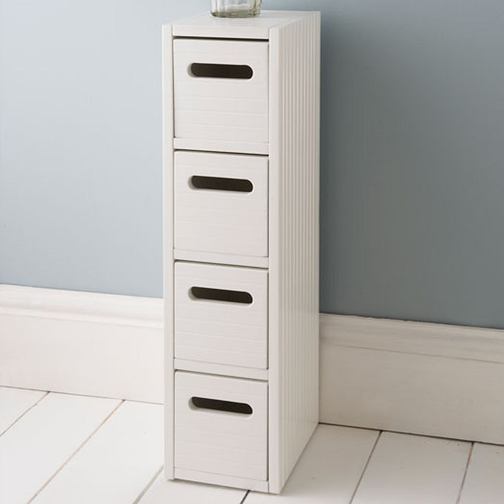 Bathroom Storage With Drawers: White Wooden Small Slimline Bathroom Storage Drawers
