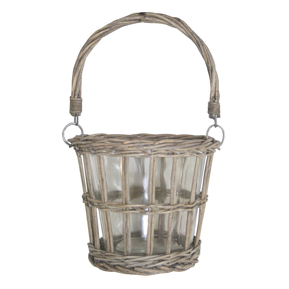 Wicker Amp Glass Hanging Candle Holder
