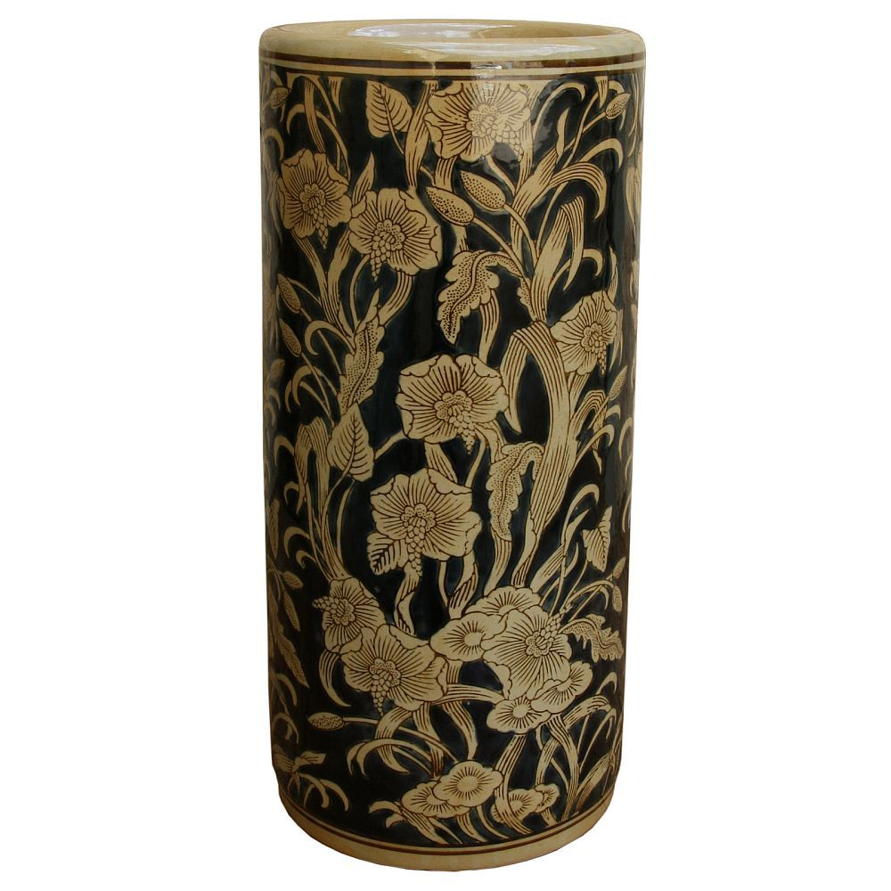Ceramic Umbrella Stand Black Amp Beige Art Nouveau