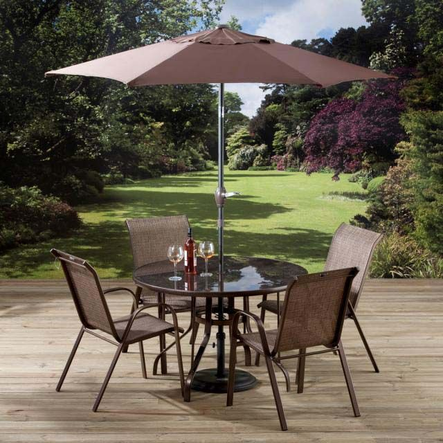 Chocolate garden table chair set by pagoda for Outdoor furniture japan