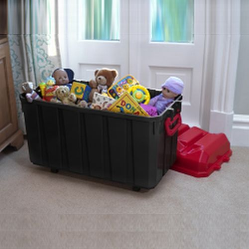 Jumbo Plastic Toy Storage Box On Wheels