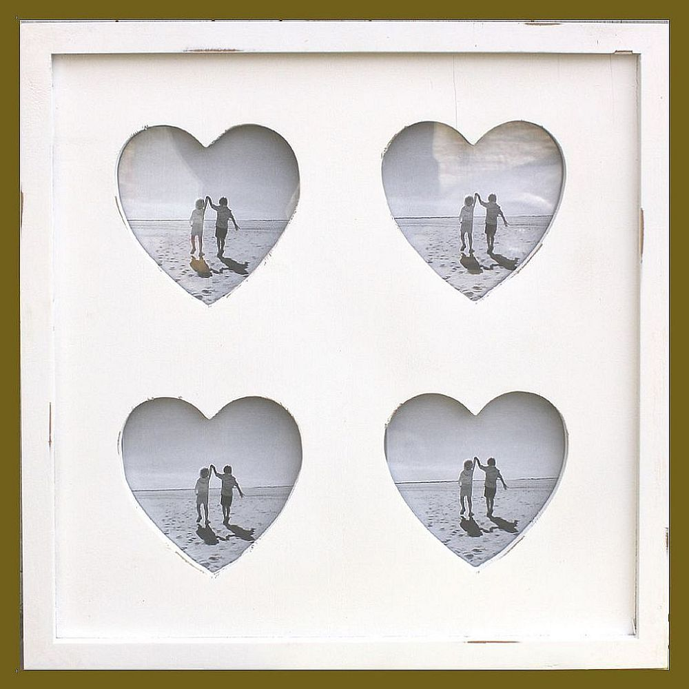 Large Cream Wooden 4 Heart Cut out Multi Photo Frame