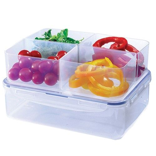Lock Lock Food Storage 39L Plastic Box with 4 Compartments
