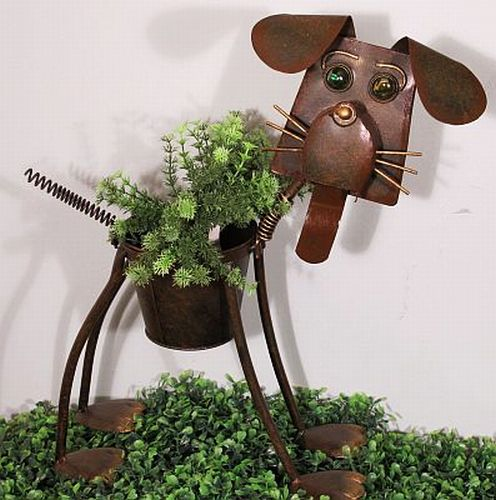 Metal Dog Planter
