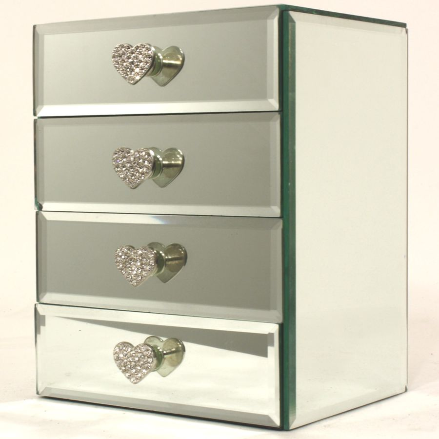 new with foxhunter table mirror var cabinet mirrored bedroom chest glass drawer itm furniture drawers