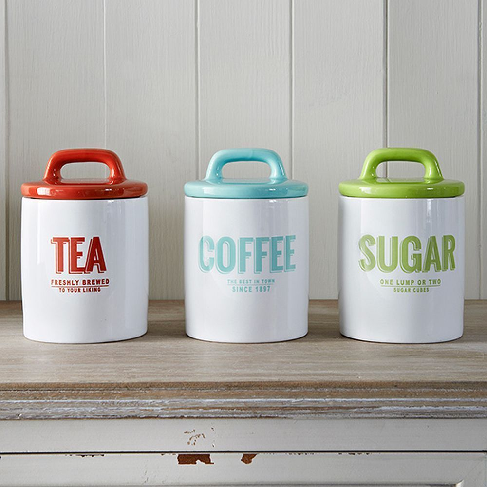 Popular Retro Enamel Tea Coffee Sugar Canisters Multi Coloured UW13