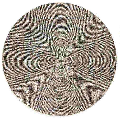 Round Metallic Bronze Glitter Beaded Fabric Placemats 2 Pack