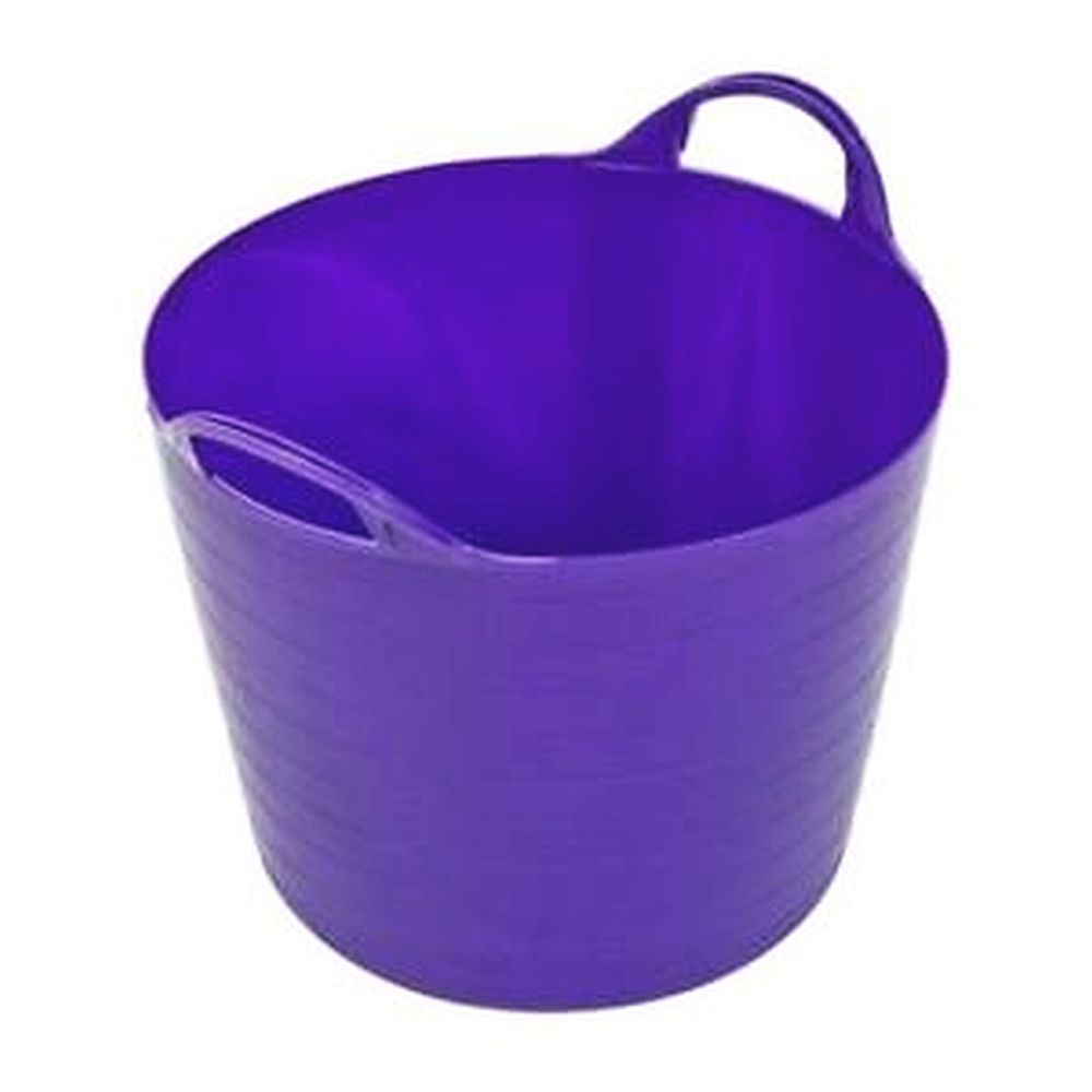 Round Plastic Carry Storage Tubs Purple 3 Sizes