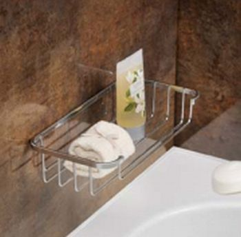 Shower Bath Chrome Basket Storage Shelf