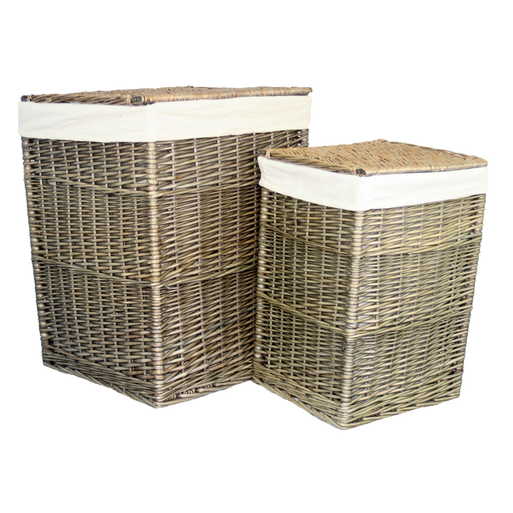 Antique Wash Wicker Lined Storage Basket: Suffolk 2 Nesting Vintage Willow Wicker Lined Laundry Baskets