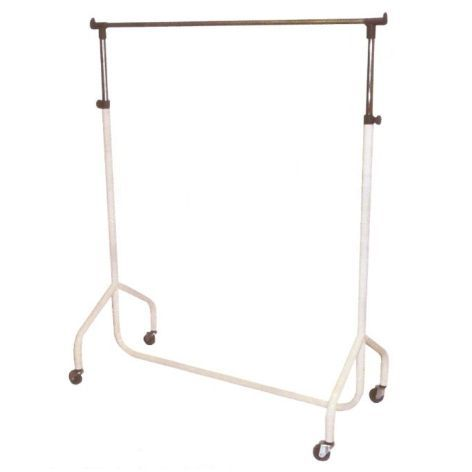 White Adjustable Height Movable Clothes Rail on Wheels