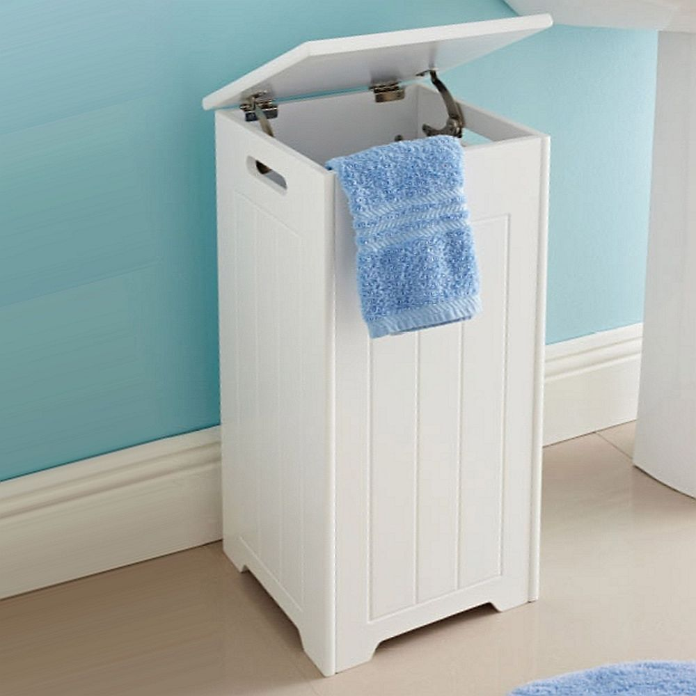 White Wooden Bathroom Laundry Storage Bin Box