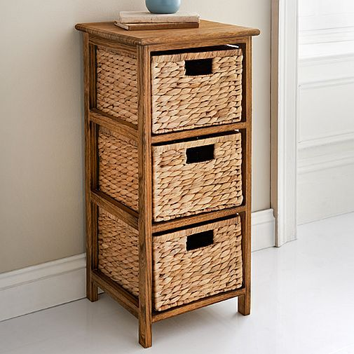 Wicker Basket Chest Of 3 Storage Drawers